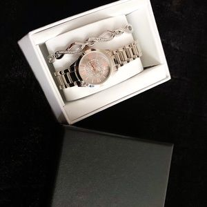 NEW JACKLYN SMITH SILVER AND ROSE GOLD WATCH